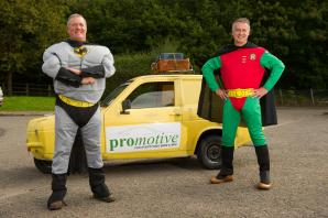 Only Fools fans take on Europe's finest tracks in three-wheeled van